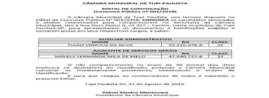 Imagem de capa da notícia: Câmara Municipal faz segunda convocação de aprovados em Concurso Público